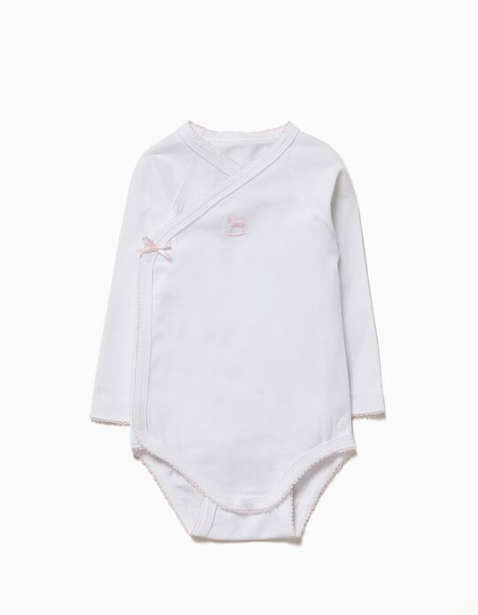 Long-sleeve Bodysuit for Newborn 'Pony', White and Pink