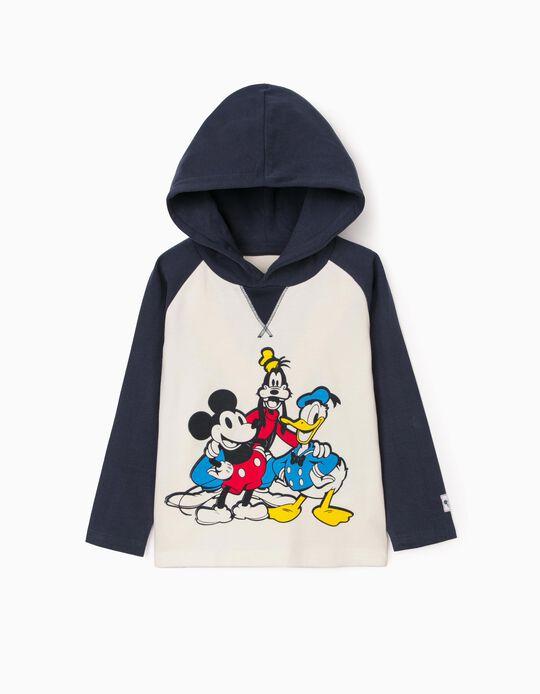 T-shirt Manga Comprida para Bebé Menino 'Mickey & Friends', Branco/Azul