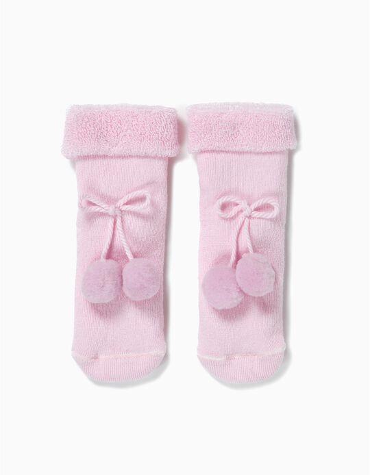 Calcetines Terry para Bebé Niña con Aplicación, Rosa
