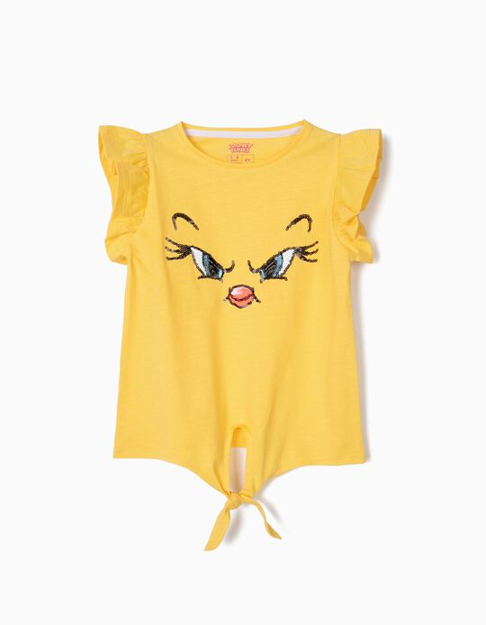 T-shirt para Menina 'Tweety' com Nó Frontal, Amarelo