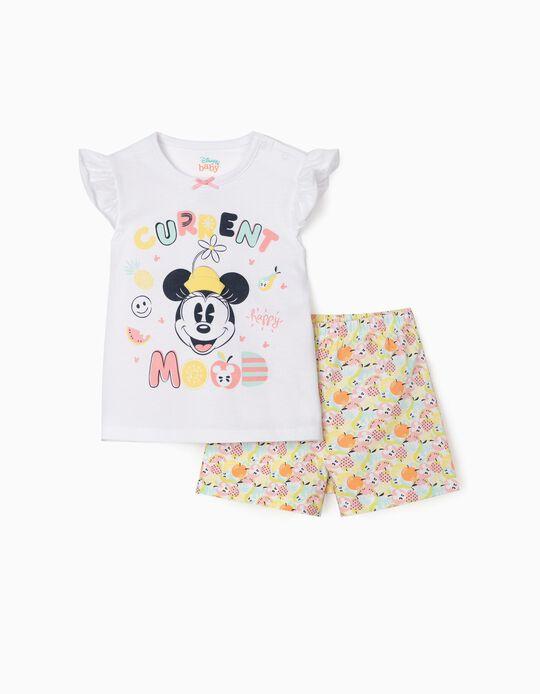 Pyjamas for Baby Girls, 'Happy Minnie', White/Multicolour