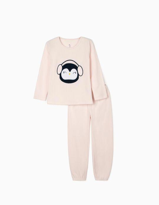 Pijama Polar para Niña 'Pingüino', Rosa