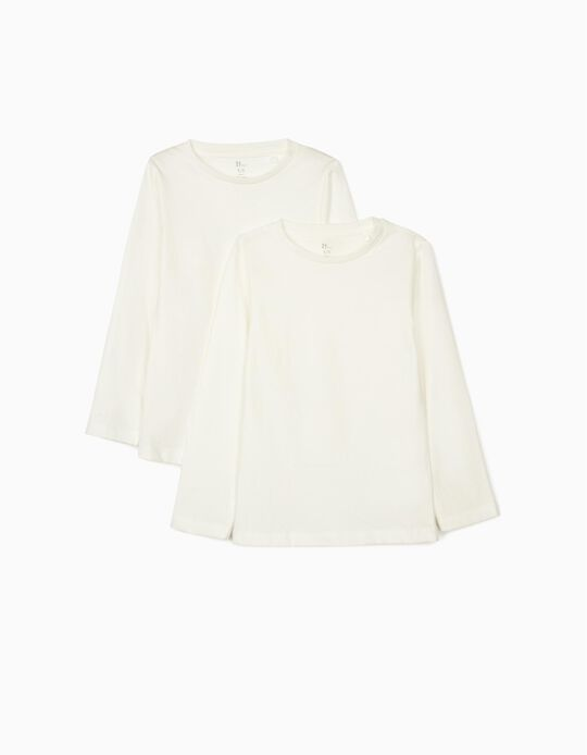 2 Long Sleeve Tops for Girls, White