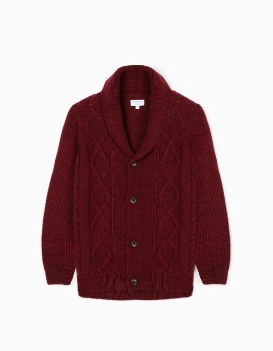 Knit Cardigan for Boys 'B & S', Burgundy
