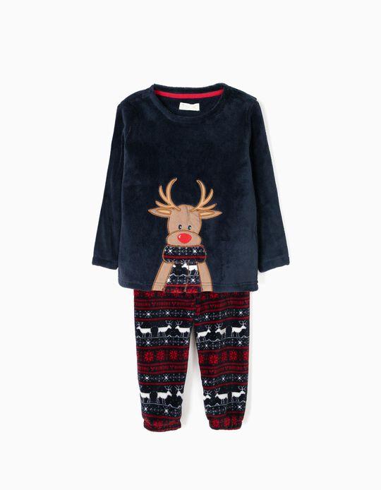 Pijama Camiseta y Pantalón Reno Navidad Azul