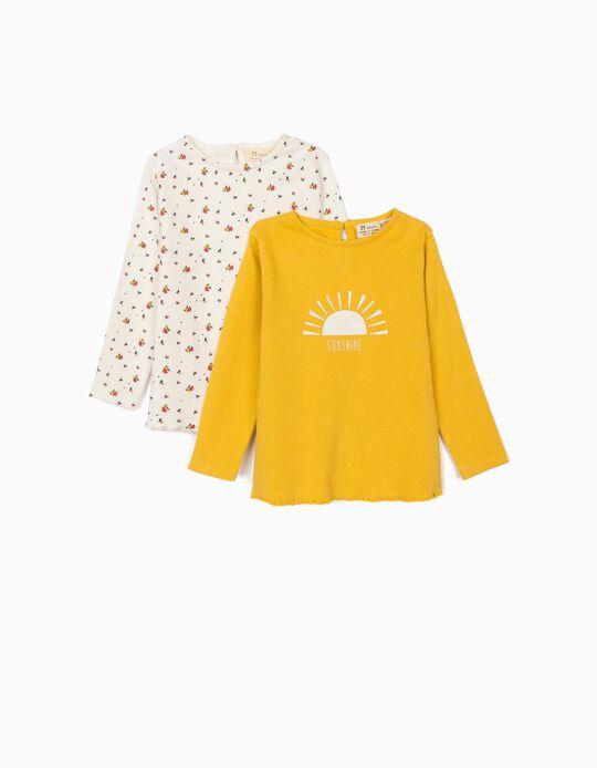 2 T-shirts Manga Comprida Caneladas para Bebé Menina, Amarelo/Branco