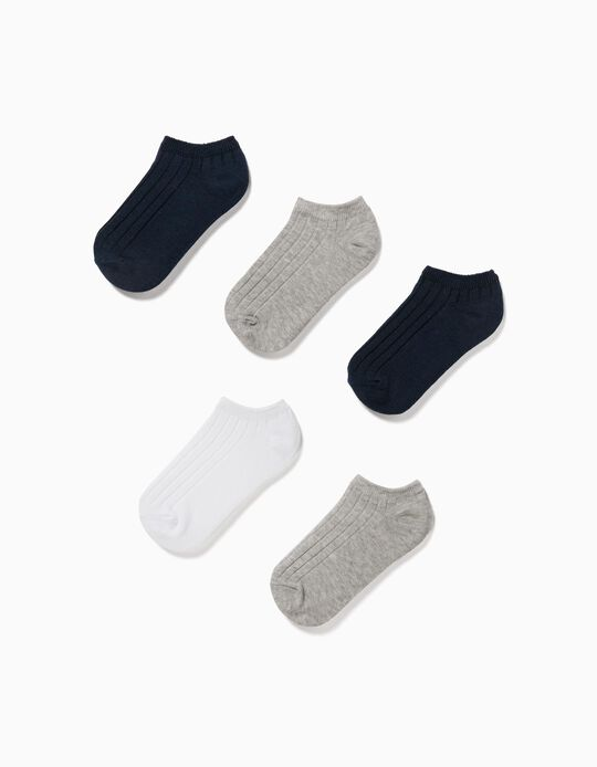 5 Pairs of Rib Knit Ankle Socks for Children, Grey/Blue/White