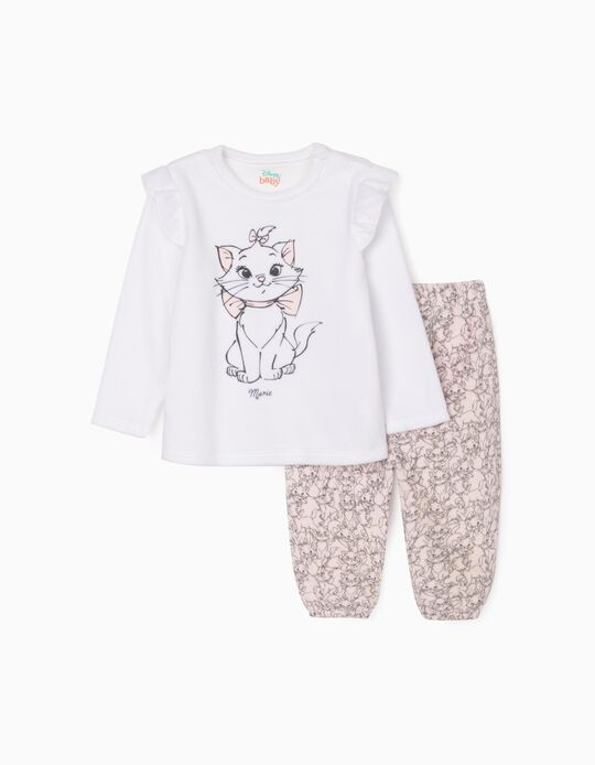 Pyjamas in Velour for Baby Girls 'Aristocats', White/Pink