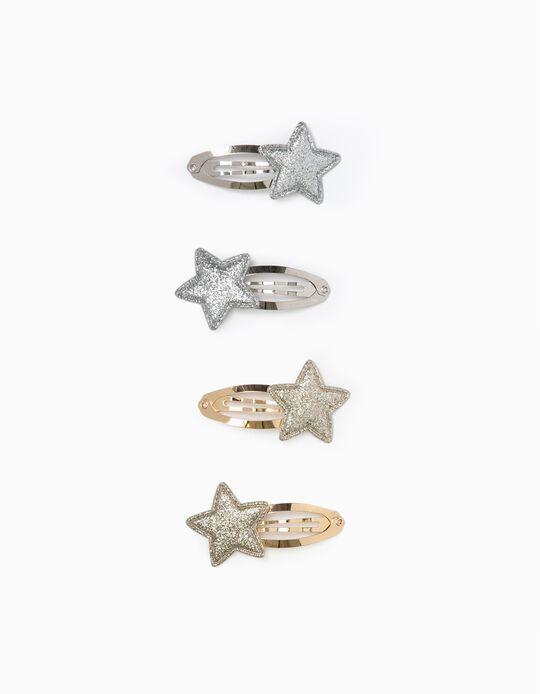 4 Horquillas para Niña 'Stars', Dorado/Plateado