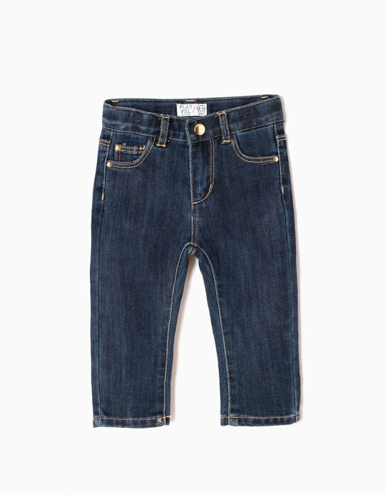 Slim Fit Jeans for Baby Girls, Dark Blue