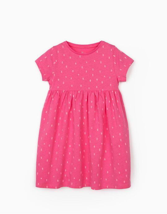 Vestido de Punto para Niña 'Lunares', Rosa