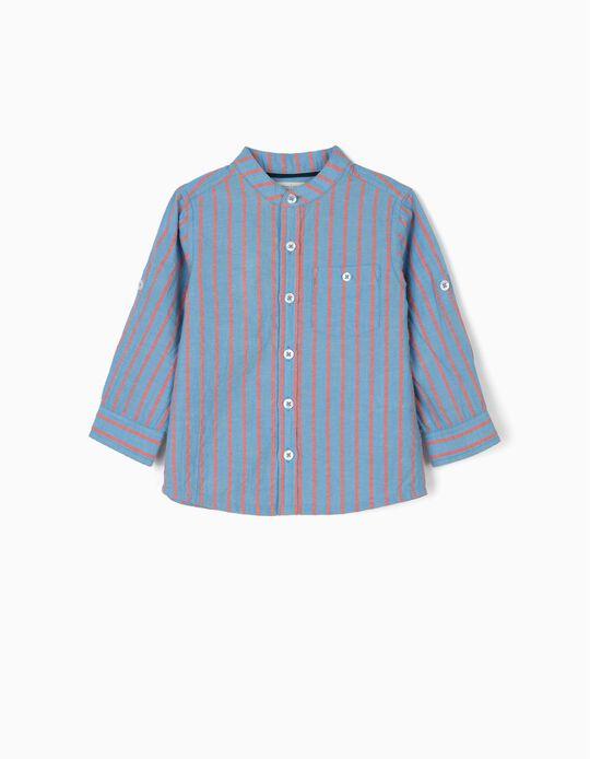 Camisa para Bebé Menino 'B&S' com Gola Mao, Azul