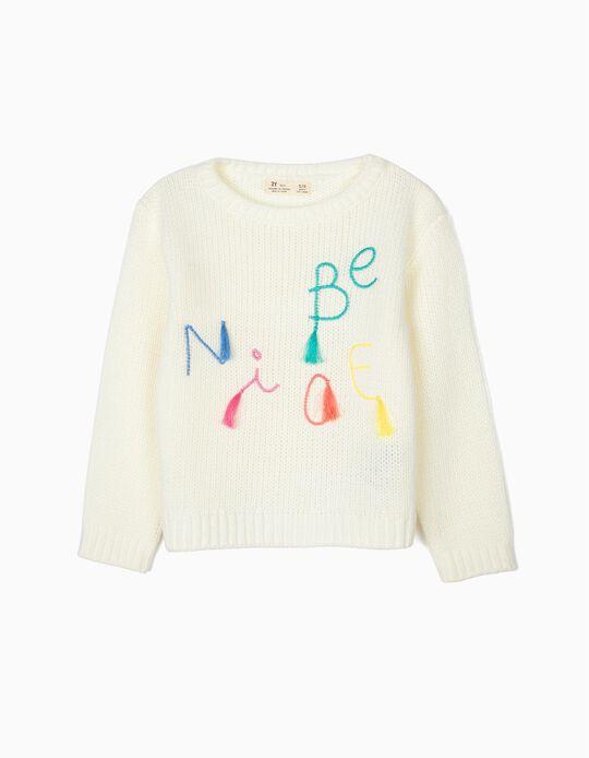 Jersey para Niña 'Be Nice', Blanco