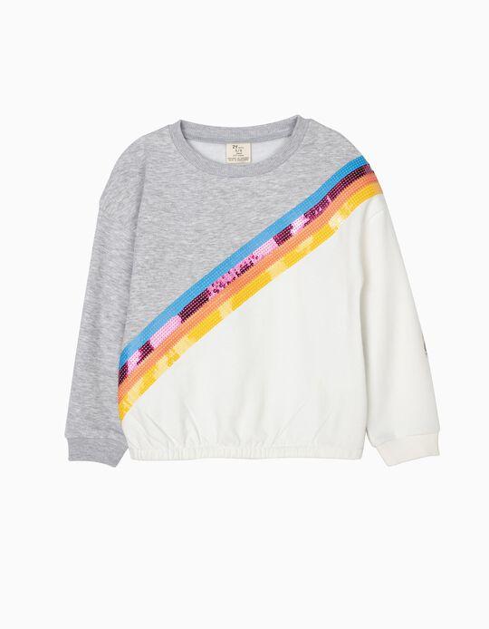 Sweatshirt para Menina com Lantejoulas, Cinza e Branco