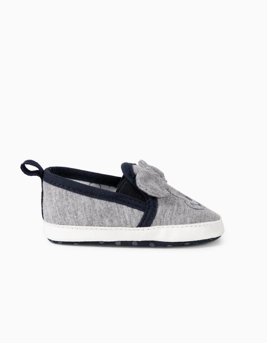 Slip-On Trainers for Newborns Baby Boys 'Mickey Mouse', Grey