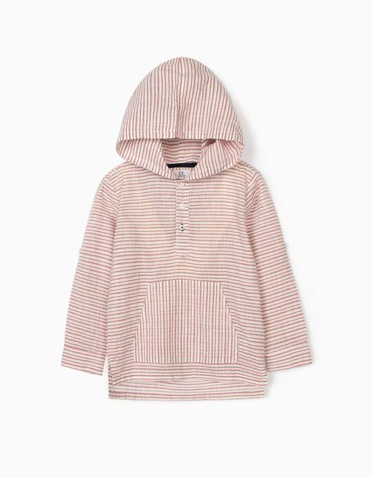 Hooded Shirt for Boys, White/Red