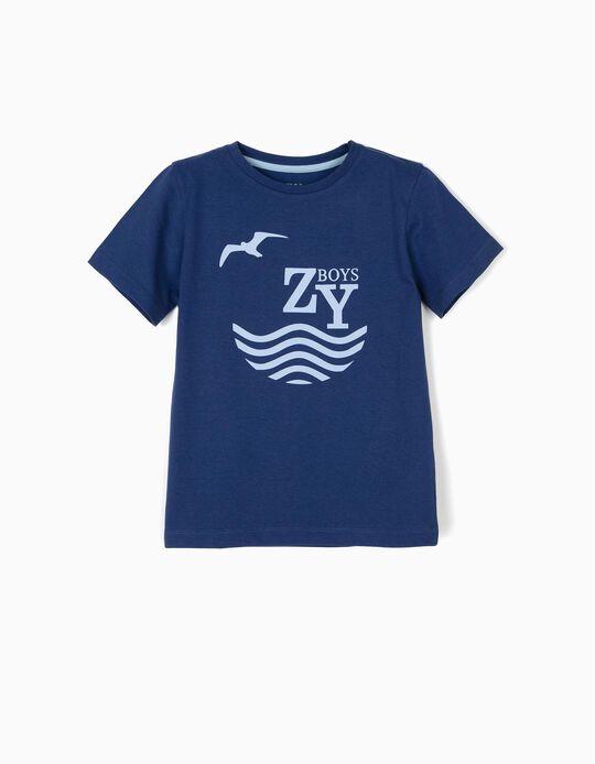 T-shirt para Menino 'ZY Boys', Azul