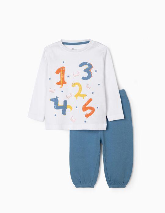 Pijama para Bebé Niño 'Numbers', Blanco/Azul