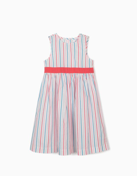 Striped Dress for Girls, 'Butterflies', White