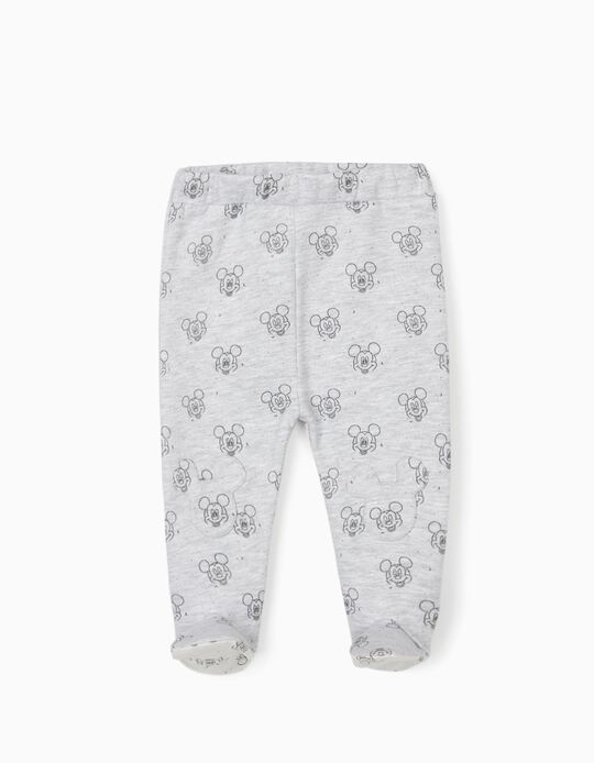 Footed Trousers for Newborn Baby Boys, 'Mickey Mouse', Grey