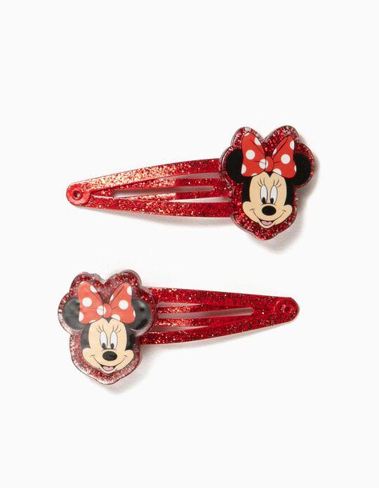 2 Ganchos de Cabelo para Menina 'Minnie', Vermelho