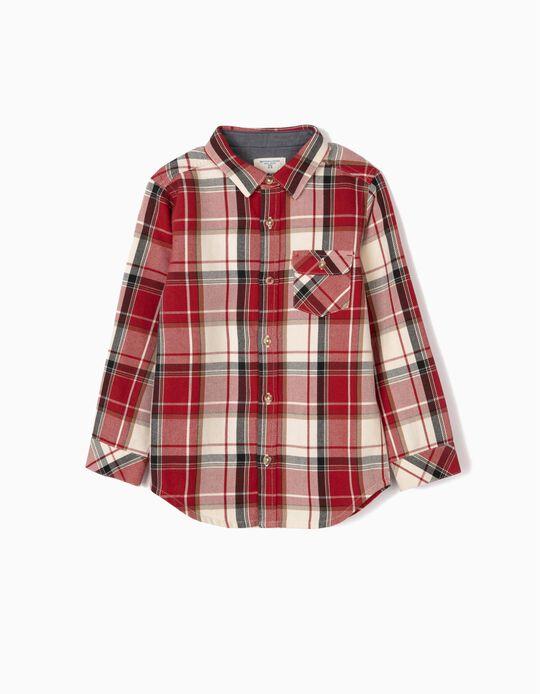 Camisa Ajedrez para Niño 'B&S', Rojo/Blanco