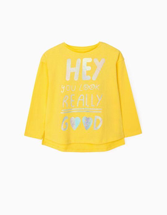 T-shirt Manga Comprida para Menina 'Hey', Amarelo