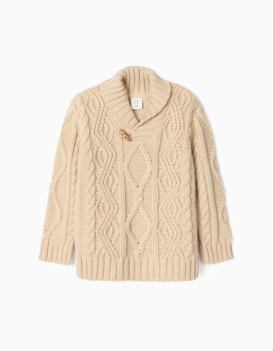 Braided Knit Jumper for Boys, Beige