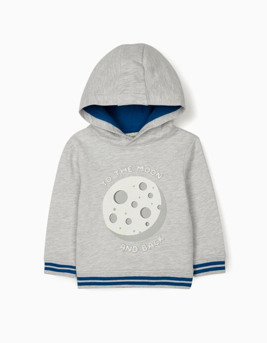Hooded Sweatshirt for Baby Boys, 'Moon', Grey