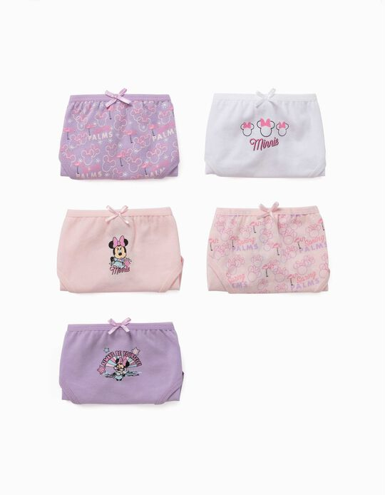 5 culottes fille 'Minnie', lilas/rose/blanc