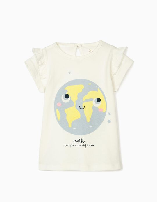 T-shirt for Baby Girls 'Earth', White
