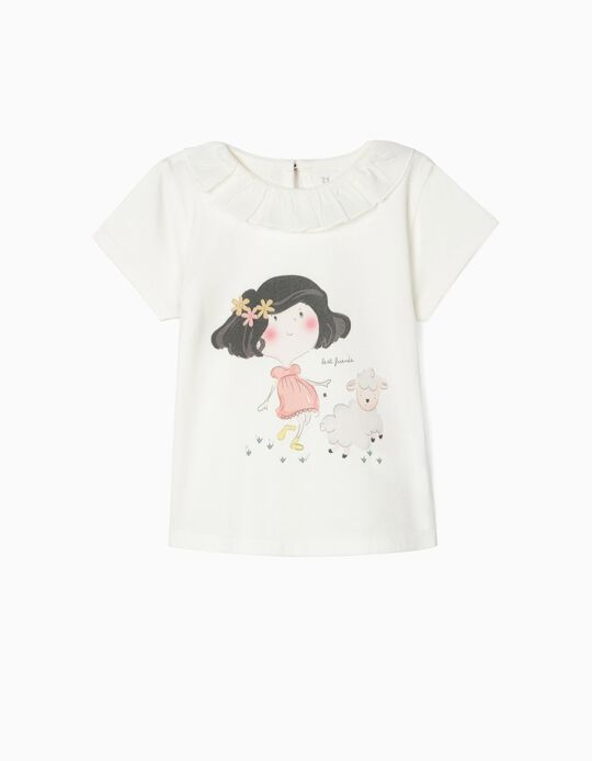 T-shirt in Organic Cotton for Baby Girls, 'BF', White