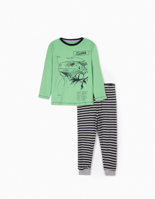 Pyjamas for Boys, 'Iguana', Green/Blue/Grey