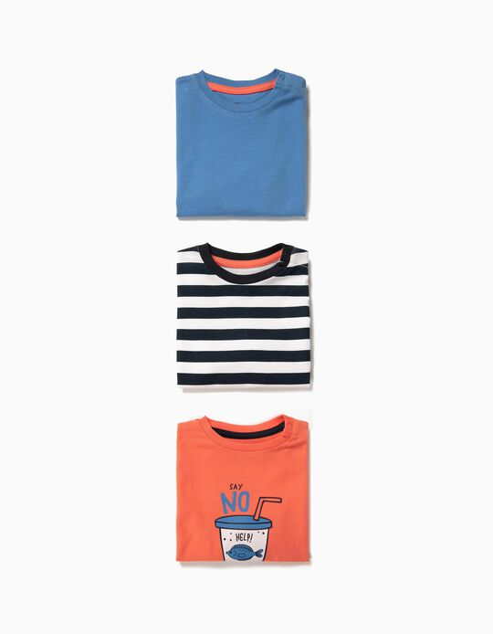 3 Camisetas para Bebé Niño 'Say No to Plastic', Multicolores