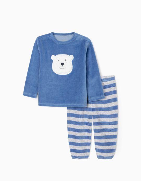 Pyjamas in Velour for Baby Boys 'Bear', Blue/Grey