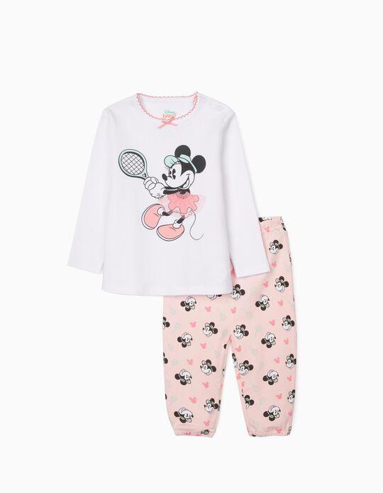 Pijama para Bebé Niña 'Minnie Tennis', Blanco/Rosa