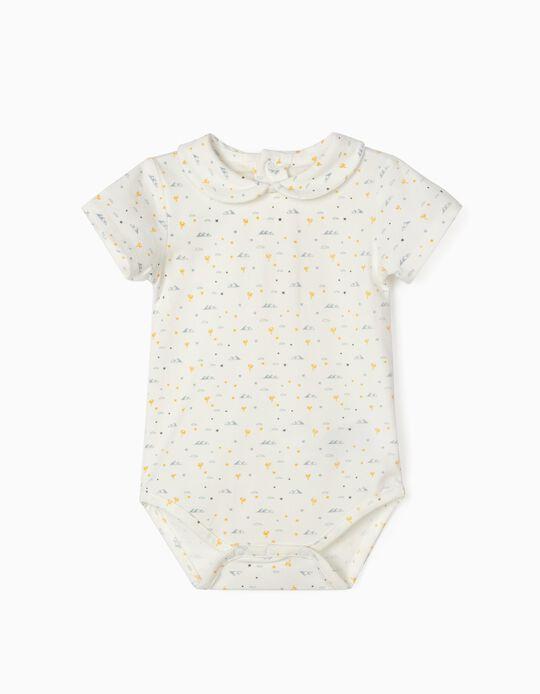 Printed Bodysuit for Baby Boys, 'Pyramids, White