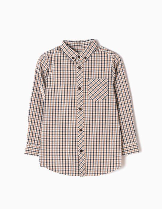 Camisa Ajedrez con Bolsillo Beige y Azul