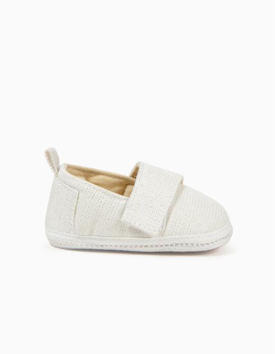 Zapatos para Recién Nacida con Lúrex, Blanco
