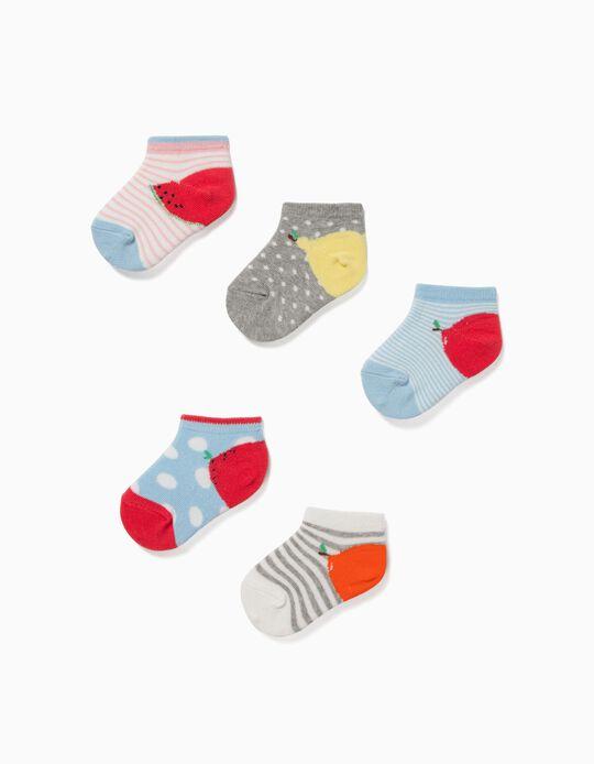5 Pares de Calcetines Cortos para Bebé Niña 'Fruits', Multicolor
