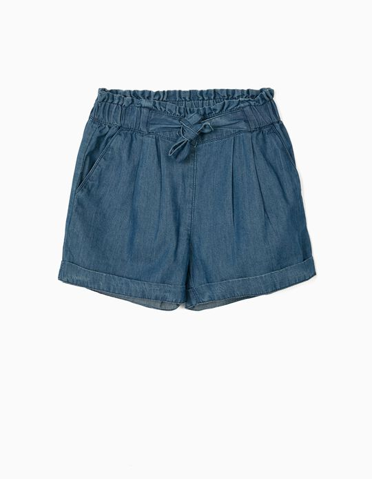 Short Denim fille, bleu