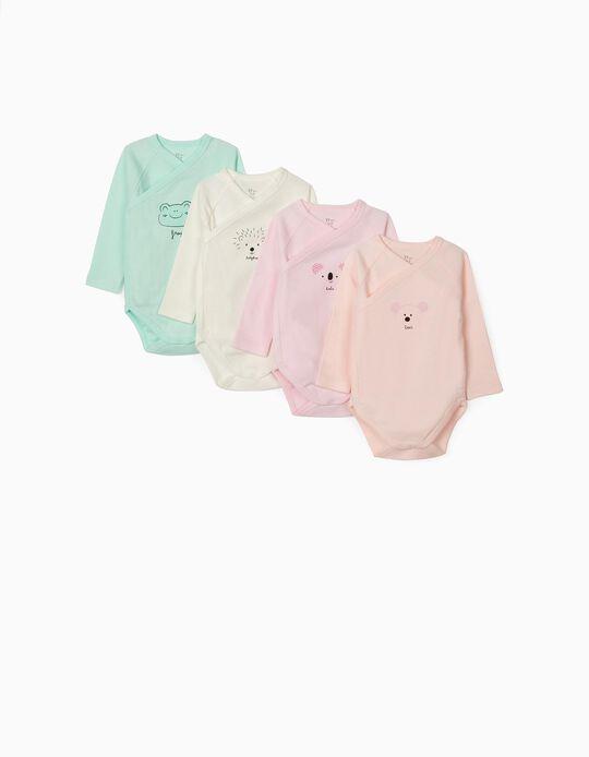 4 Bodies manches longues bébé 'Animals', multicolore
