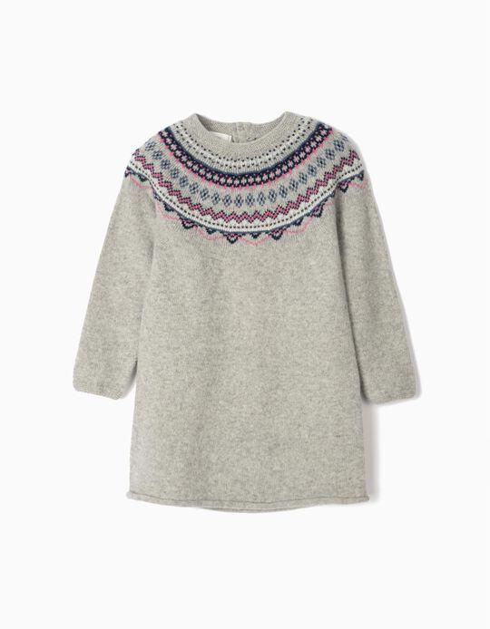 Vestido Lã com Jacquard para Menina, Cinza