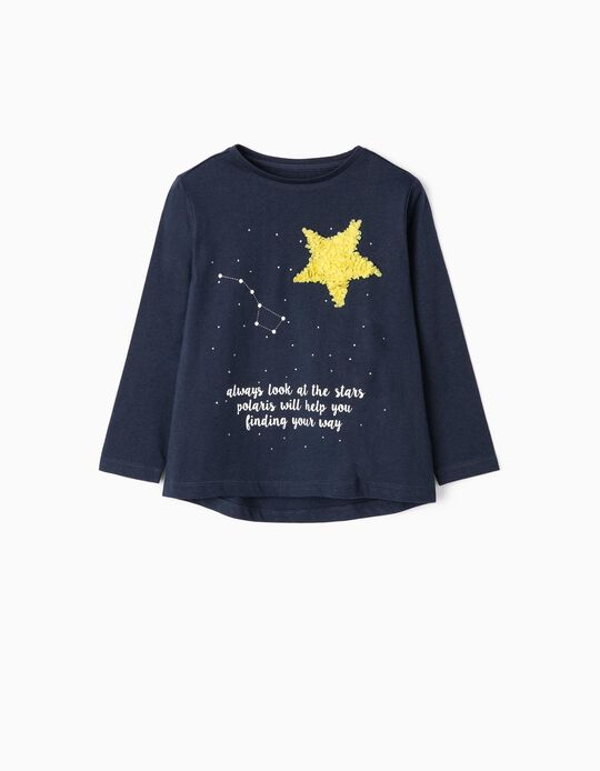 Long-sleeve Top for Girls 'Magic', Dark Blue