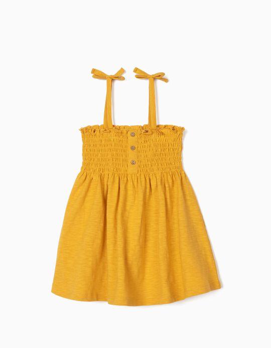 Organic Cotton Top for Girls, Dark Yellow