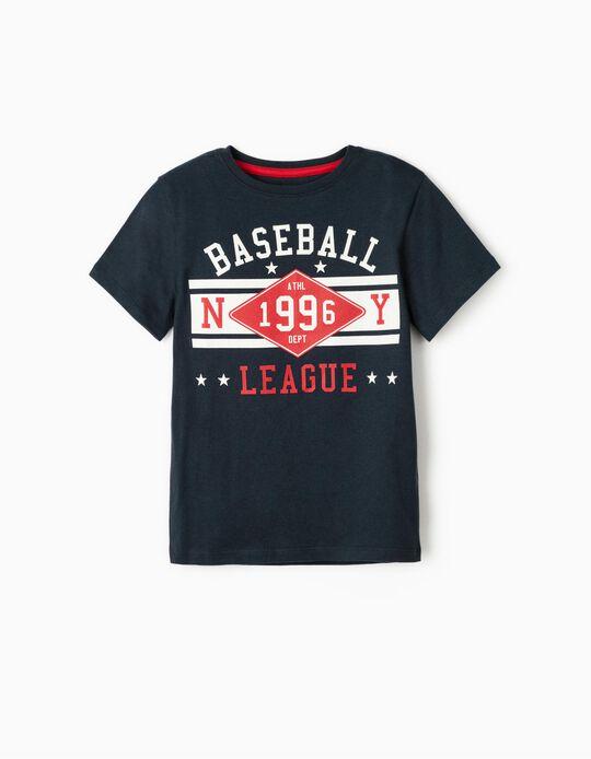 T-Shirt for Boys 'Baseball League', Dark Blue