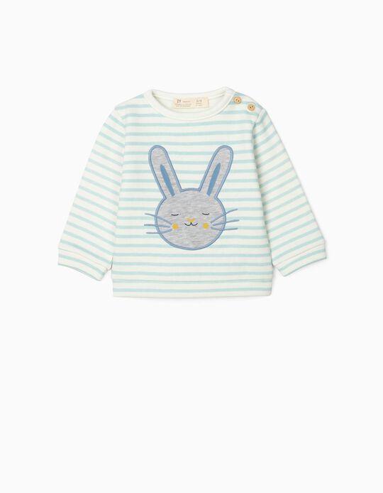 Striped Sweatshirt for Newborn Baby Boys, 'Cute Bunny', White/Blue