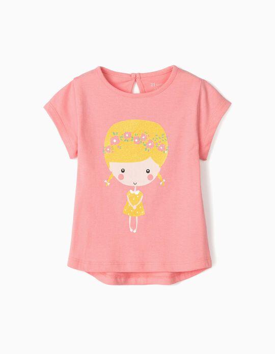 T-Shirt for Baby Girls 'Flower Girl', Pink