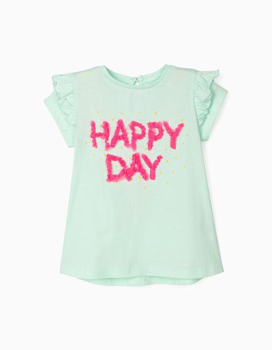 T-shirt para Bebé Menina 'Happy Day', Azul Claro