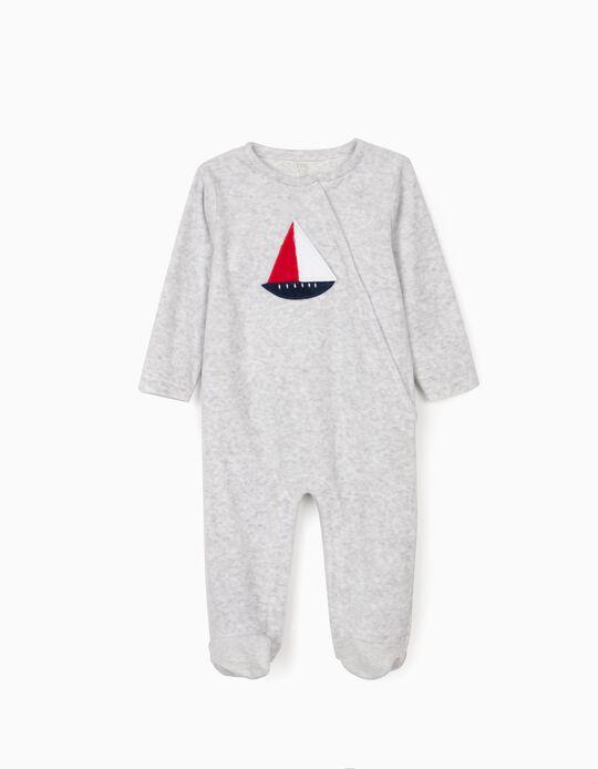 Babygrow Veludo para Bebé Menino 'Boat', Cinza